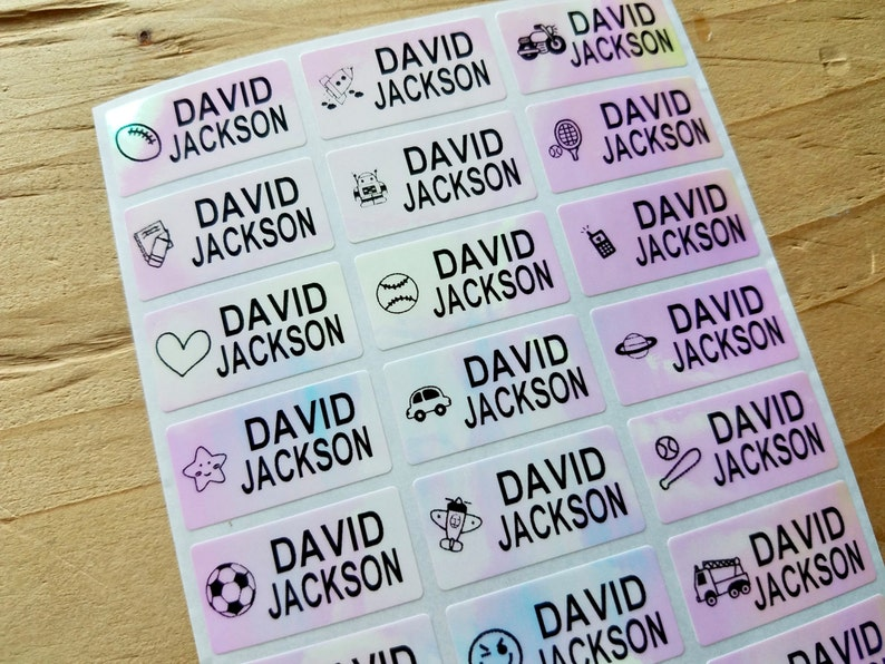 Waterproof name labels boy Name tag stickers Kid labels Boy name labels School labels Etsy kids Kids labels Hologram labels Name stickers
