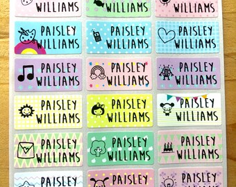 72 Waterproof Name Stickers- Daycare Labels- Pastel Print Kids labels- Girl Icon Designs - Medium Size- Multicolor Stickers