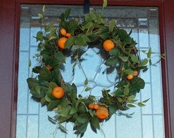 CHOOSE Lemon Lime or Orange Wreath-Citrus Wreath-Fruit Wreath-Wreath for Summer-Kitchen Decor-Pantry Door Decor-Wreaths for Front Door Porch