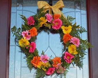 Beautiful Spring Wreaths For Front Door Gerber Daisy Wreath Spring Wreath Daisy Wreath