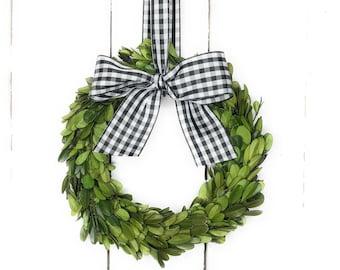 "4.5"" 6"" 8"" or 10"" Small Mini Preserved Boxwood Wreath Taffeta Gingham Check Ribbon-Farmhouse Wreath-Year Round Wreath-Window Wreath"