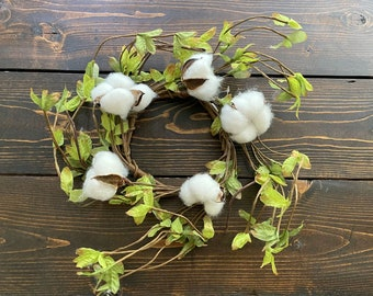 Farmhouse Cotton & Greenery Candle Ring Wreath for Pillar, 3 Wick Candle or Small Accent Wreath-Rustic Farmhouse Cotton Decor