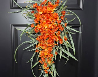 Late Summer or Fall Orchid Swag Wreath For Front Door-Tropical Wreath-Coastal Swag-Beach Home Decor-Wall Decor-Vertical Swag