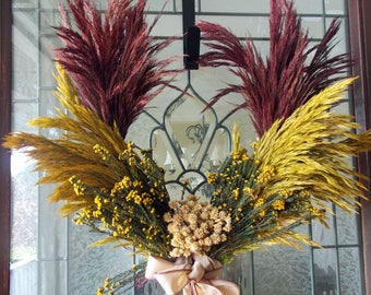 FALL WREATH-Fall Wreaths for Front Door-Preserved Grass Wreath-Autumn Wreath-Thanksgiving Wreath-Harvest Wreath-Front Door Wreaths-Wreathes