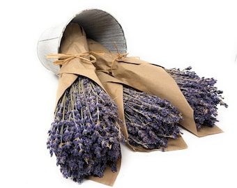 Dried Lavender Bunch/Bundle/Stems/Bouquet-Real French Fragrant Lavender-Premium Grade in Kraft Paper-Lavender Decor