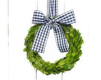 "4.5"" 6"" 8"" or 10"" Small Boxwood Christmas Wreath-Mini Wreath-Taffeta Navy Gingham Check Ribbon-Farmhouse Wreath-Year Round Wreath"