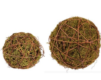 """Decorative Moss Ball Ball/Sphere/Orb with Grapevine Accent for Bowl Filler-Farmhouse Decor-CHOOSE 4"""" or 6"""""""