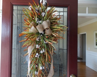 Attrayant Fall Wreaths For Front Door Fall Swag For Front Door Fall Wreath Cotton And  Grass Wreath Thanksgiving Decor Fall Teardrop Swag Wreath