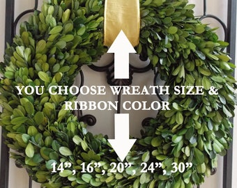 "Large Preserved Boxwood Wreath-Christmas Boxwood Wreath-Farmhouse Decor-Year Round Wreath-CHOOSE Ribbon/Bow COLOR/SIZE 14""16""18"" 20"" 24"" 30"""
