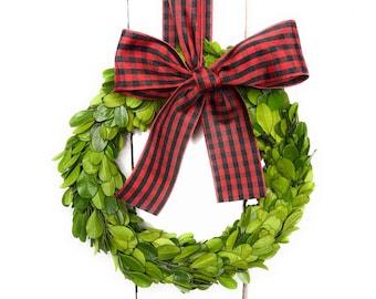 Small Boxwood Christmas Wreath-Red/Black Taffeta Check Ribbon-Mini Wreath-Holiday Decor-Farmhouse Wreath-Year Round Wreath-CHOOSE SIZE