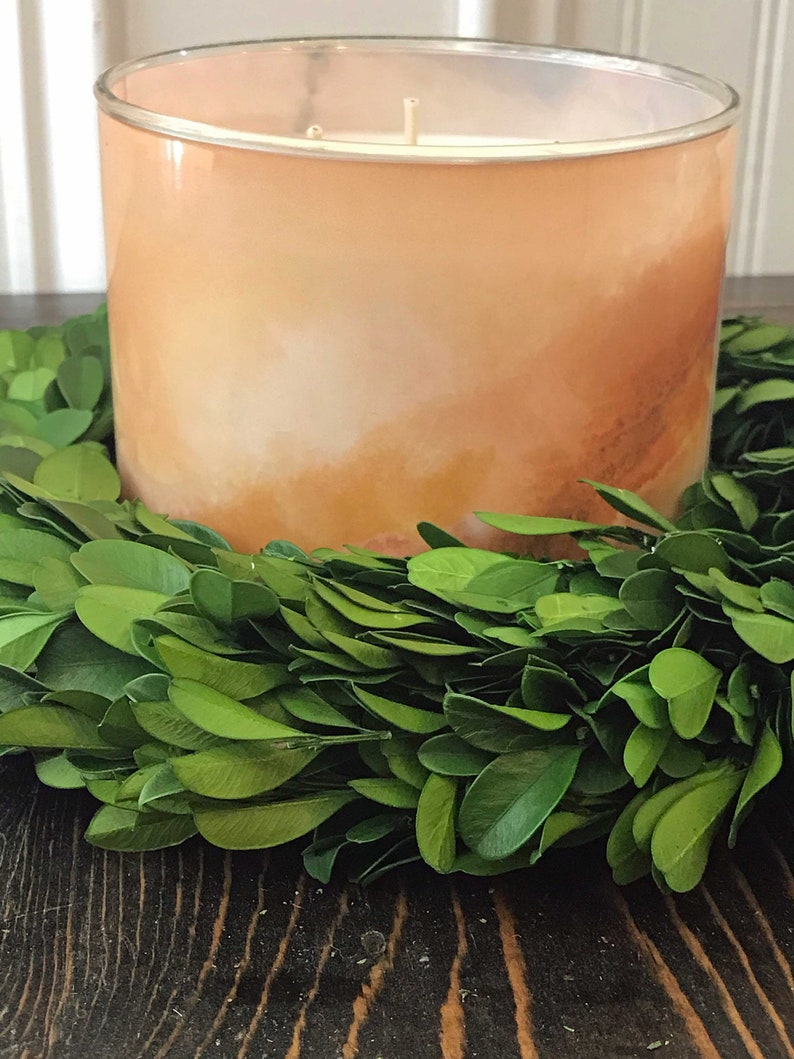 6 8 10 Preserved Boxwood Wreath Candle Ring-Extra Thick-Greenery Candle Ring-Farmhouse Home Decor-Green Spring Candle Rings