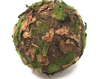 """Moss and Leaf Balls-CHOOSE 6"""" or 9""""-Decorative Ball-Decorative Balls for Bowls-Bowl Fillers-Moss Ball-Moss Balls-Farmhouse-Moss Ball Decor"""
