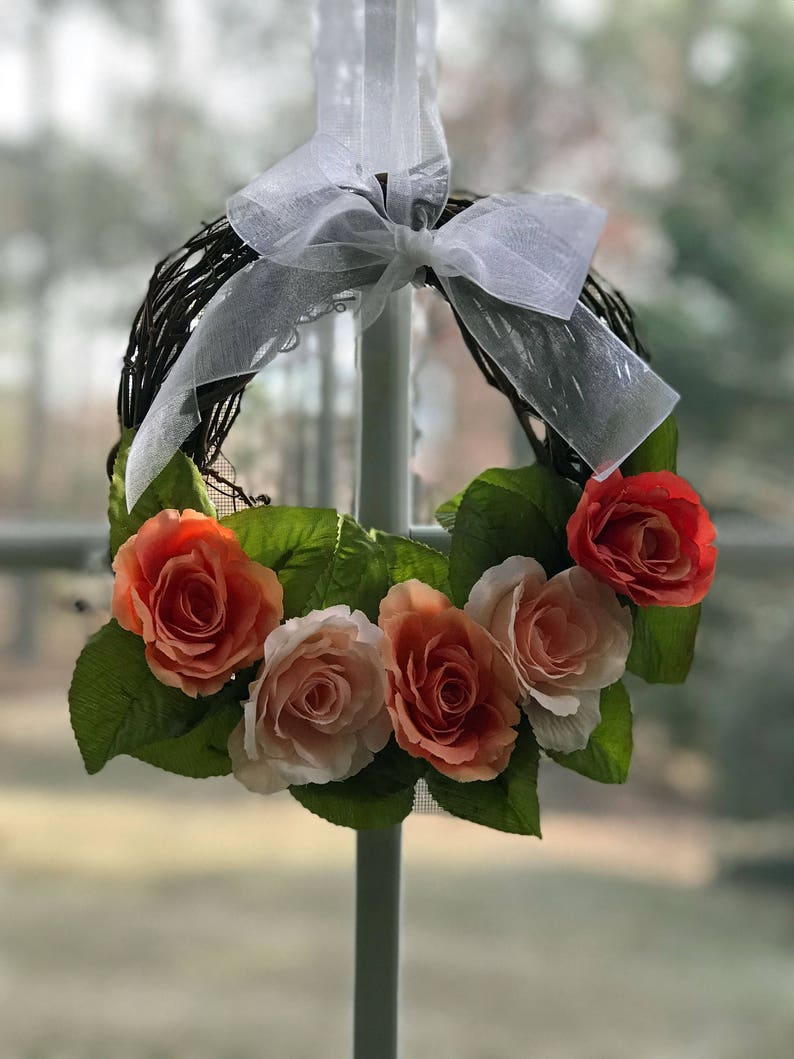 Small Rose Wreath in PeachCoral for Spring or Summer-MIni Wreath Decor-Decorative Wreath-Accent Wreath-Window Wreath-Rustic Wreath