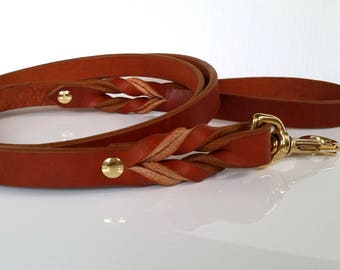 Custom Leather Dog Leash / Brown Leather Dog Leash / Black Leather Dog Leash / The Standard 5ft / 150cm Leash (20mm)