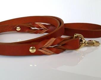 Custom Leather Dog Leash / Brown Leather Dog Leash / Black Leather Dog Leash / The Standard 5ft / 150cm Leash (25mm)