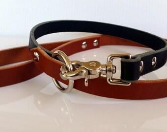 Custom Leather Dog Leash / Brown Leather Dog Leash / Black Leather Dog Leash / Standard Combo Leash 4ft / 120cm Leash (20mm)