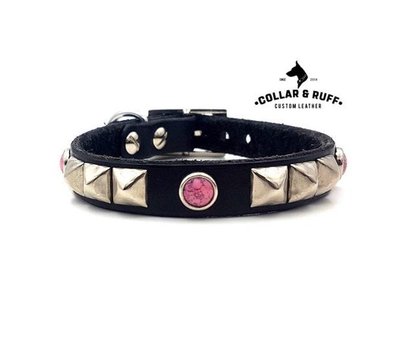 e989f0e83105f Leather Dog Collar / Custom Dog Collar / Black Leather Dog Collar / Brown  Leather Collar / Fancy Dog Collar / The Prada