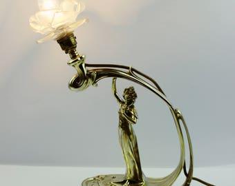 Art nouveau lamp etsy antique art nouveau lamp newel post lamp early 1900s aloadofball Images