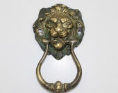 Antique Small Bronze Lion Mask Door Knocker, with Swing Arm Knocker,