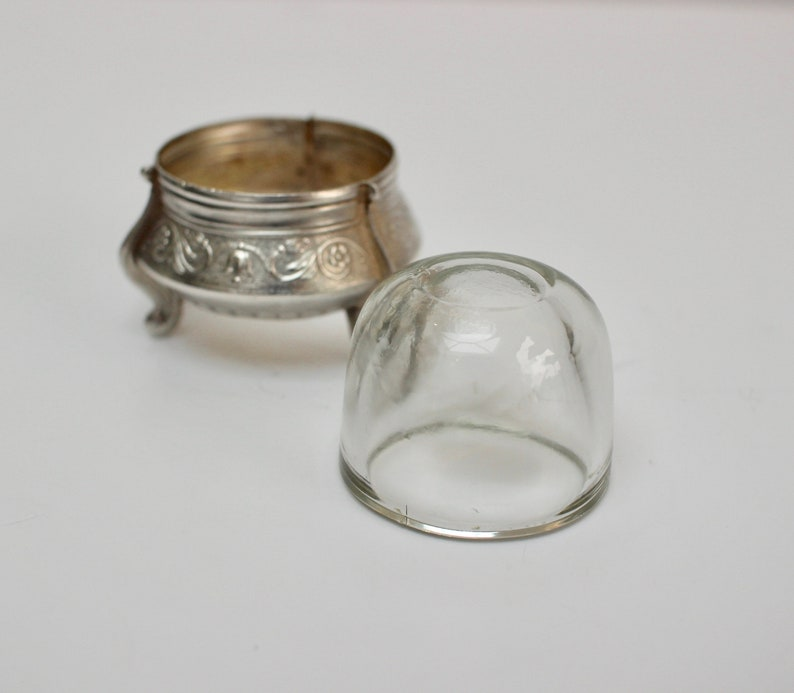 Fabulous Condition Silver Coloured Salt Cellar 1960/'s Stamped I Ommet Vintage Russian White Metal Salt with Original Glass Liner