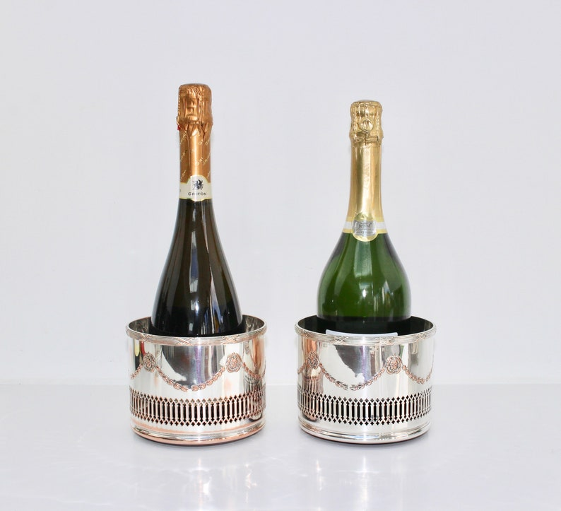 Antique Magnum Bottle Coasters, Champagne or Decanter Stands, Sheffield  Silver Plated Table Ware