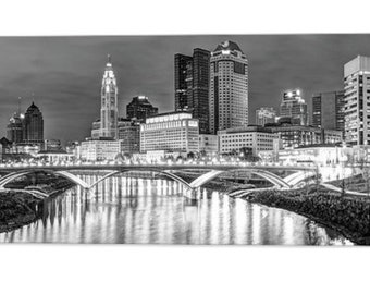 Main Street Bridge Monochrome Columbus Skyline Capital City Print BW Panoramic Art Ohio Cityscape Black and White Panorama Artwork