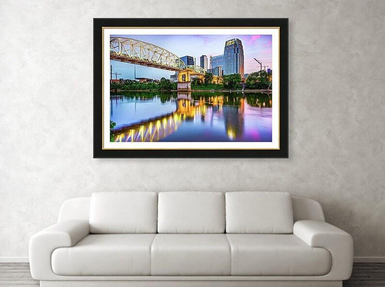Shelby Street Bridge Cumberland River John Seigenthaler Nashville Skyline Print Tennessee Art Pedestrain Bridge Architectural Decor