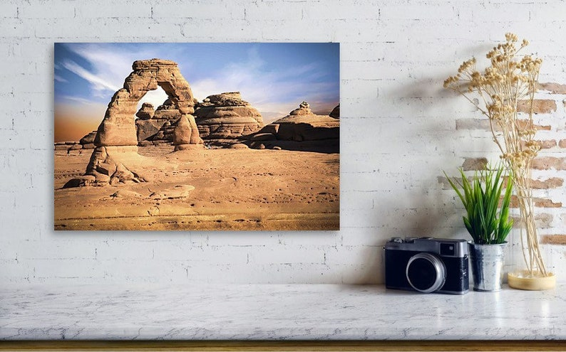 Delicate Arch Print Arches National Park Rock Formation Landscape Photograph Utah Wall Art Moab Utah Print Mountain Landscape