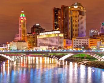Columbus Skyline Panorama | Ohio Panoramic Photo | Urban Photography | Cityscape Photos | Columbus at Night | Panoramic Prints  | Wall Decor