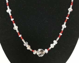 Glass beaded necklace-red and clear