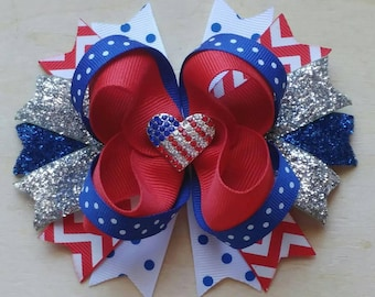4th of July hair bow | Patriotic hair bow | Red, White, and Blue hair bow