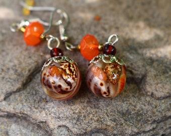 seashell in resin boho ball earrings tropical beach summer