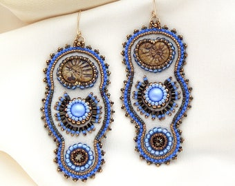 Dramatic long Priestess earrings bead embroidered with Ammonite and Periwinkle Czech glass beads, Swarovski crystals and Japanese seed beads
