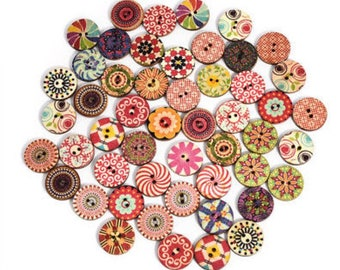 20 x Bohemian Retro style buttons 15mm