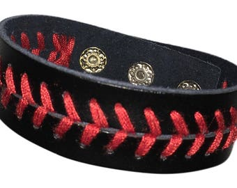 Black Leather Baseball Bracelet, baseball jewelry, sports bracelet