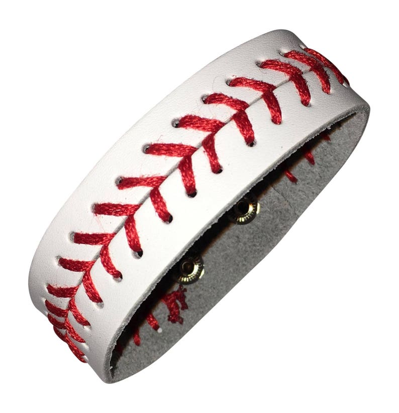 White Leather Baseball Seam Bracelet Jewlery  Small image 0