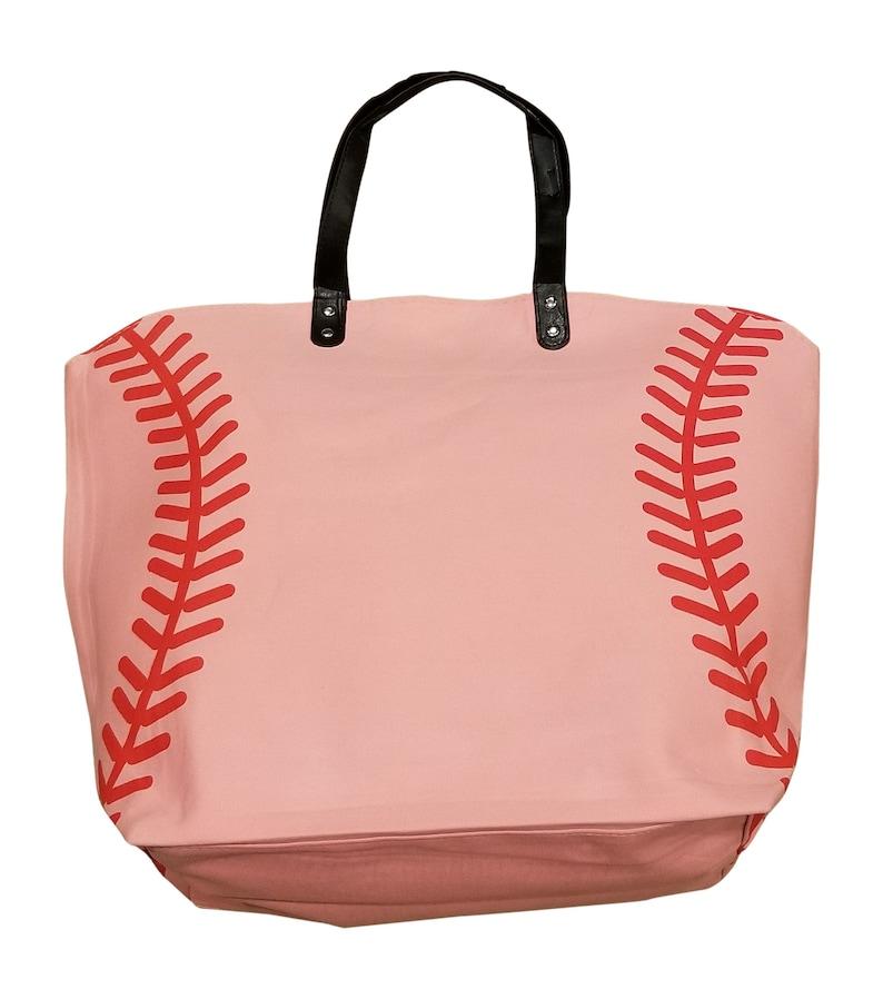 Pink Baseball Tote Bag Extra Large Great Softball Gift image 0