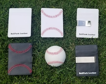 Leather Baseball Seam Front Pocket Wallet, Great Father's Day Gift