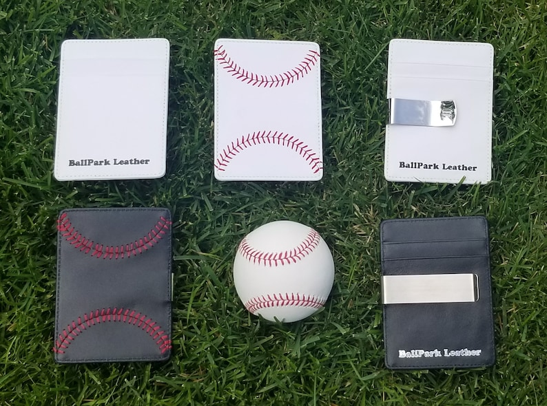 Leather Baseball Seam Front Pocket Wallet Great Gift for image 0