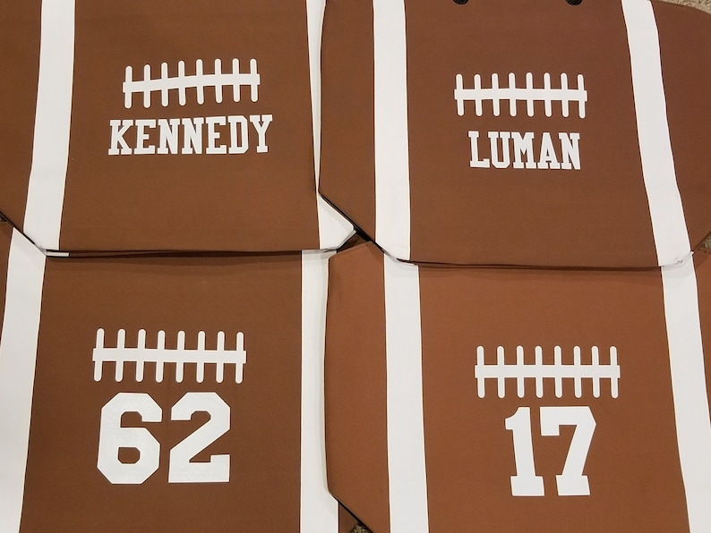 Personalized Brown Football Canvas Tote Sports Bag Extra Personalize 2 Sides
