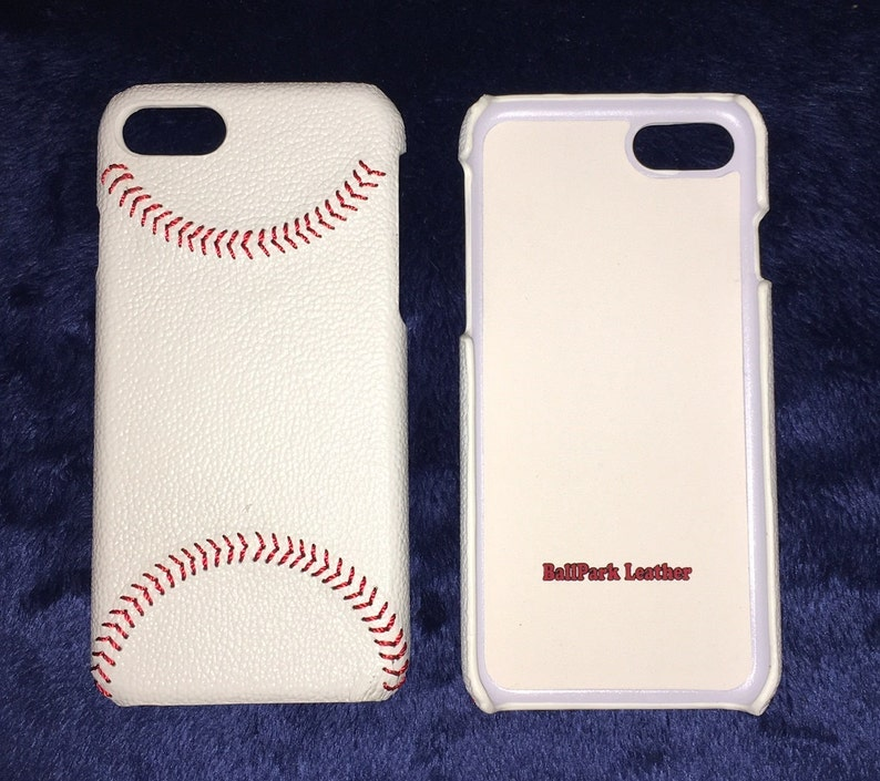 White Leather iPhone Case w/ Hand Stitched Baseball Seam Best image 0