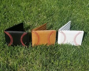 Leather Baseball Wallet, Men's Bi-fold with Baseball Seam Stitch