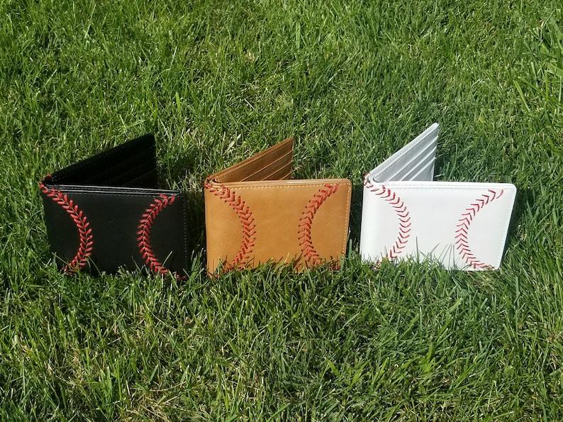 Leather Baseball Wallet Men's Bi-fold with Baseball Seam image 0