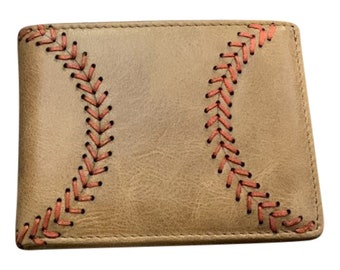 Tan Leather Men's Baseball Seam Bi-Fold Wallet