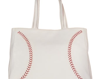 Leather Baseball Seam Handbag, Best Baseball Purse, Great Women's Baseball Gift