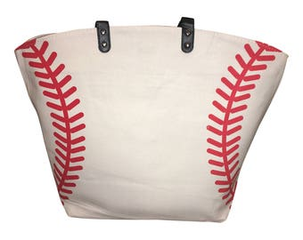 White Baseball Stitch Canvas Tote Mom Sports Bag