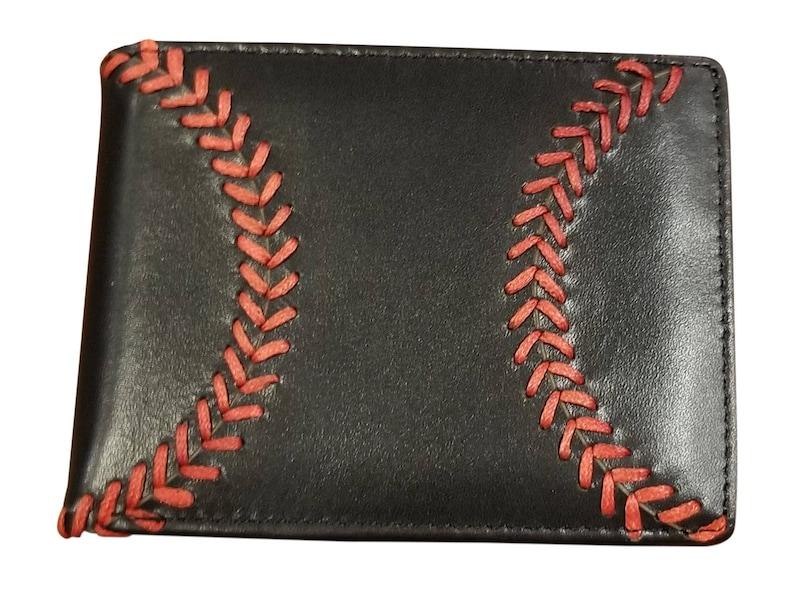 Men's Black Leather Baseball Seam Bi-Fold Wallet image 0