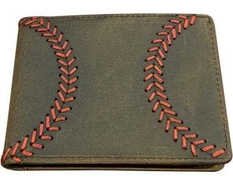 Brown Leather Baseball Wallet, Men's Bi-fold with Baseball Seam Stitch