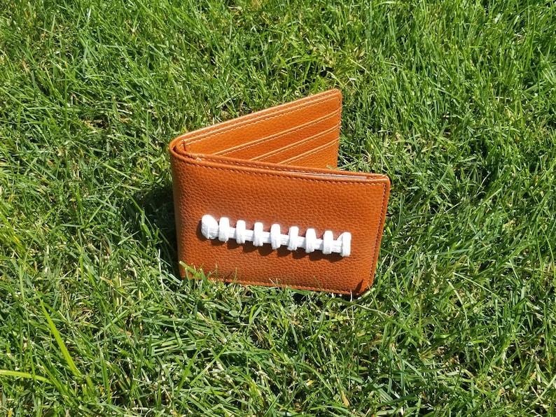 Men's Leather Football Bi-Fold Wallet Billfold Great image 0