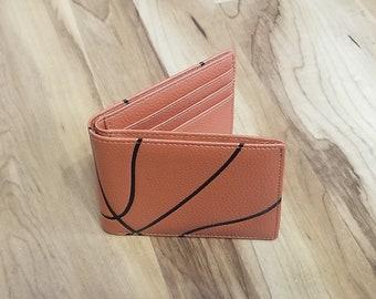 Leather Basketball Bi-Fold Wallet Billfold, Great Basketball Gift for Men
